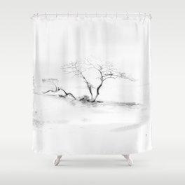 Scots Pine, Gray Shower Curtain