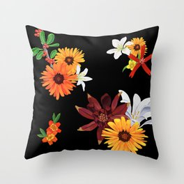 Warm Southern Flowers Throw Pillow
