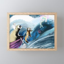 Ferret on the boat Natacha the Ferret Framed Mini Art Print