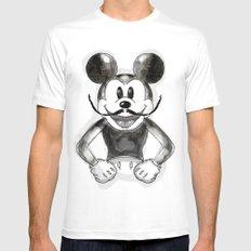 Hey Mickey White Mens Fitted Tee MEDIUM