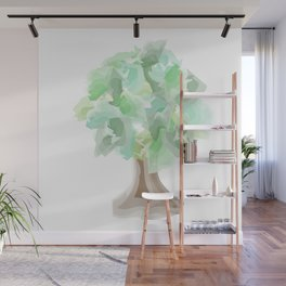 Watercolor tree with a wide trunk Wall Mural