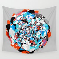 arya Wall Tapestries featuring Lines and Curves, twisting into each other by Hinal Arya