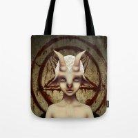baphomet Tote Bags featuring PETIT BAPHOMET by ENVYDOLLS