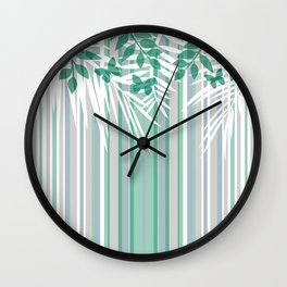 Multi-colored striped pattern with green tones . Wall Clock