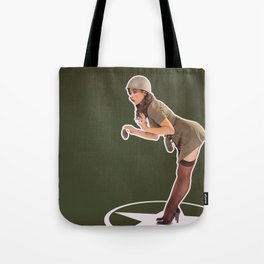 """Foxhole"" - The Playful Pinup - Grenade Military Pin-up by Maxwell H. Johnson Tote Bag"