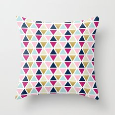 Triangle Geometry, Gold, Navy blue and Pink Throw Pillow