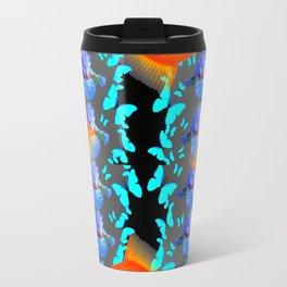 PATTERNED  BLUE BUTTERFLIES GOLD FISH & BLACK ARTWORK Travel Mug