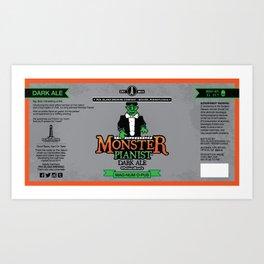 Monster Pianist Dark Ale Label Art Print