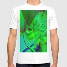 Abstract Green Algae White Mens Fitted Tee MEDIUM