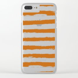 Autumn Maple STRIPES Handpainted Brushstrokes Clear iPhone Case