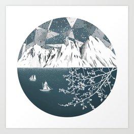 Mountain print , Navy Blue poster , mid century Modern art , travel poster Art Print