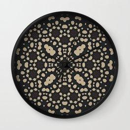 Pebble Mosaic // Abstract Geometric Black Beige Modern Contemporary Design Pattern Wall Clock