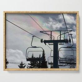 Ski Lift Rainbow Sky \\ The Mountain Sun Rays \\ Spring Skiing Colorado Winter Snow Sports Serving Tray