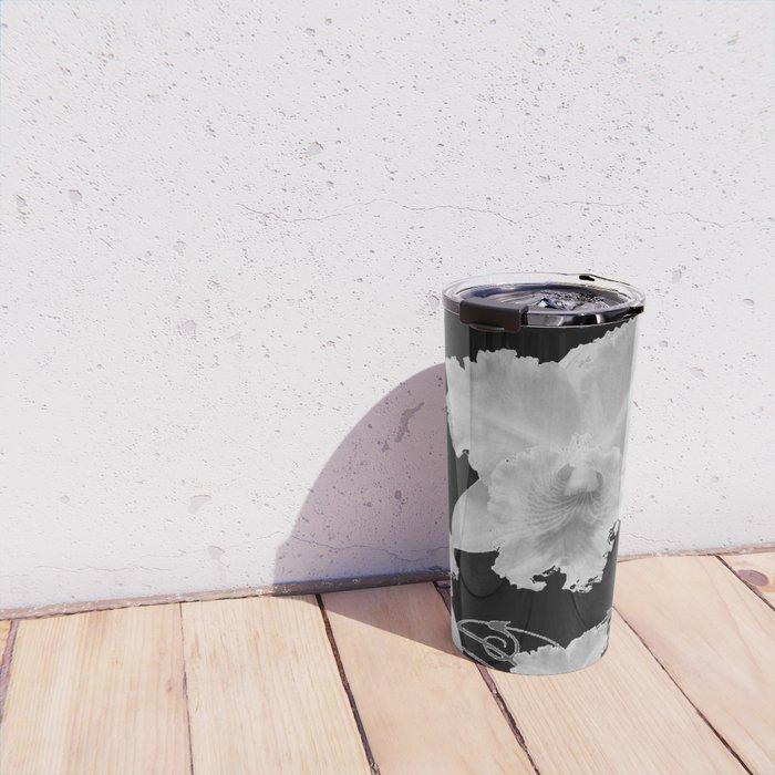 WHITE CATTLEYA ORCHIDS IN BLACK & WHITE ART Travel Mug