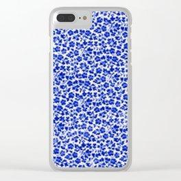 Sapphire Blue Vintage Flowers Clear iPhone Case