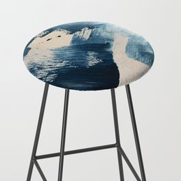 Against the Current: A bold, minimal abstract acrylic piece in blue, white and gold Bar Stool