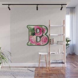 Letter B Rose Monogram Wall Mural