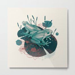 Frogs in water lilies Metal Print