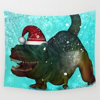 t rex Wall Tapestries featuring T-rex, merry christmas by nicky2342