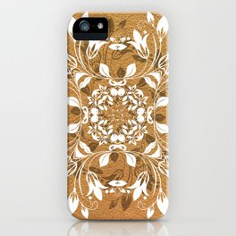 ELEGANT GOLD AND WHITE FLORAL MANDALA iPhone Case
