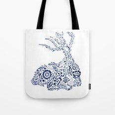 Folk Floral Indigo Deer Tote Bag