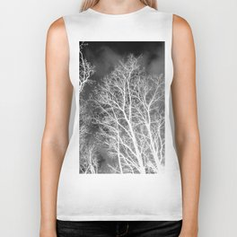 Black and whit naked trees forest, negative version Biker Tank