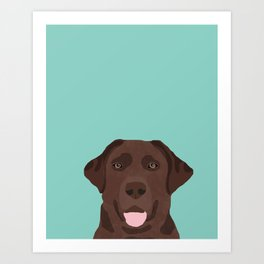 Chocolate Lab dog breed portrait pet art dog lover gifts labrador retriever Art Print