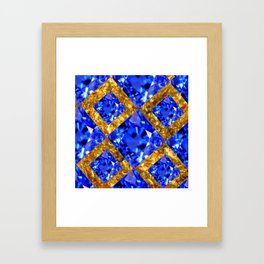 ASYMMETRIC ROYAL BLUE SAPPHIRE GEMSTONES ART ON GOLD Framed Art Print