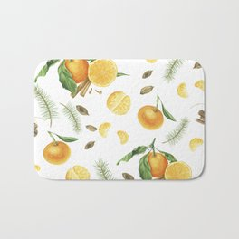 Tangerines, spices and branches of tree Bath Mat