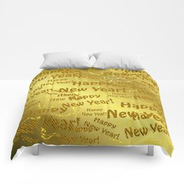 new year Colorful design happy new year text in gold, festive, elegant gift for anyone in the family Comforters