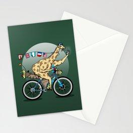 Giraffe riding a mountainbike Stationery Cards
