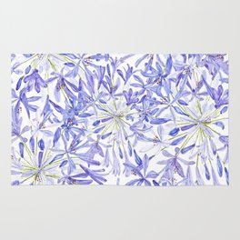 blue purple African lily watercolor painting Rug