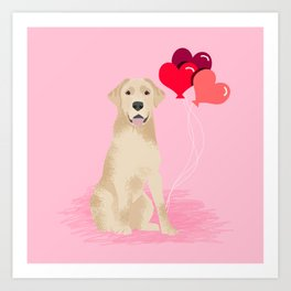 Labrador Retriever yellow lab valentines day dog breed gifts heart balloons Art Print