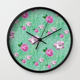 Blossom Willow Flower Pattern Turquoise & Pink Wall Clock