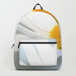 White Daisy On A Windy Day Bokeh Blue-Gray Background Backpack