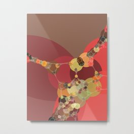 corrine - bright abstract of coral tan brown brick chartreuse Metal Print