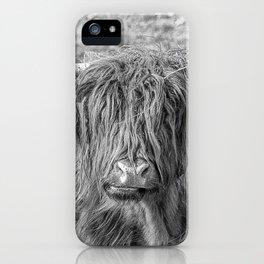 Black and white big Scottish Highland cow iPhone Case