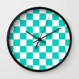 Aqua Blue Checkers Pattern Wall Clock