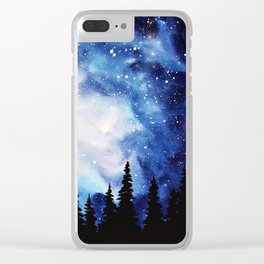 Watercolor Starry Galaxy Forest Painting Clear iPhone Case