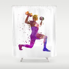 Man exercising weight training workout fitness Shower Curtain
