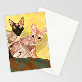 Tiger and George - the Cornish Rex Cats Stationery Cards