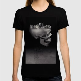 Urban Skull Horror Black and White City T-shirt