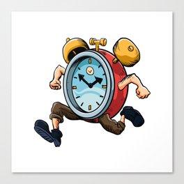 Clock Man Running Canvas Print