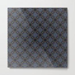 Art Deco Pattern Apricot Blue Metal Print