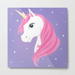 Purple Unicorn Metal Print