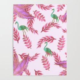 Flamingo rose Poster