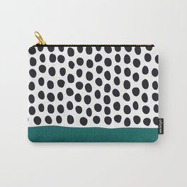 """Elegant Handpainted Polka Dots with """"Shaded Spruce"""", Fall, Autumn Color Carry-All Pouch"""