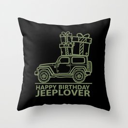 Happy Birthday 'JEEPLOVER' Green Throw Pillow