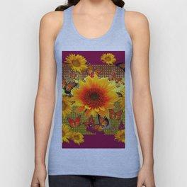 Burgundy Purple Butterflies Sunflowers Floral Art Unisex Tank Top