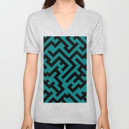 Black and Teal Green Diagonal Labyrinth Unisex V-Neck